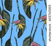 tropical flowers  jungle leaves ... | Shutterstock .eps vector #603765005