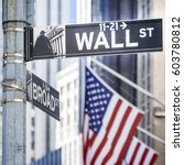 Small photo of Close-up shot of Wall Street street sign in Manhattan, New York, USA.