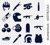 Army Icons Set. Set Of 16 Army...