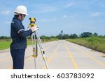 surveying engineer is writting... | Shutterstock . vector #603783092