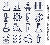 scientific icons set. set of 16 ... | Shutterstock .eps vector #603783305