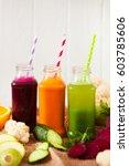various freshly squeezed...   Shutterstock . vector #603785606