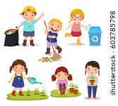 set of cute kids volunteers.... | Shutterstock .eps vector #603785798