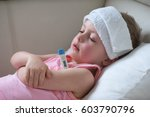 sick child with high fever... | Shutterstock . vector #603790796