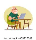 elderly man character chatting...   Shutterstock .eps vector #603796562