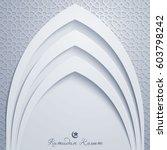 ramadan kareem greeting card... | Shutterstock .eps vector #603798242