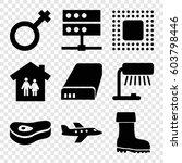 set of 9 illustration filled... | Shutterstock .eps vector #603798446