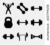 set of 9 barbell filled icons... | Shutterstock .eps vector #603799658