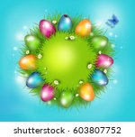 grass circle with bright... | Shutterstock . vector #603807752