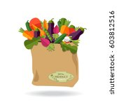 paper bag with healthy foods ... | Shutterstock .eps vector #603812516