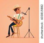 singer man character sing song... | Shutterstock .eps vector #603815882