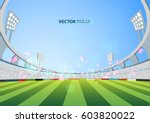 sports stadium with lights ... | Shutterstock .eps vector #603820022