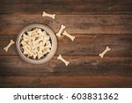 top view of a bowl of crunchy... | Shutterstock . vector #603831362