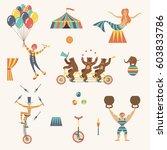 circus set with clown  juggler