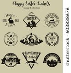 vector happy easter vintage... | Shutterstock .eps vector #603838676