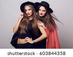fashion spring image of two... | Shutterstock . vector #603844358