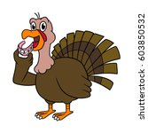 cartoon turkey holding dentures ... | Shutterstock .eps vector #603850532