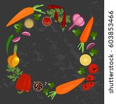 banner of raw food for cooking. ... | Shutterstock .eps vector #603853466