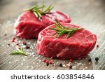 Raw Beef Fillet Steaks With...