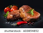 grilled beef fillet steaks with ... | Shutterstock . vector #603854852
