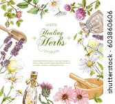 vector herbal cosmetics frame... | Shutterstock .eps vector #603860606