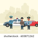 two police men arresting a... | Shutterstock .eps vector #603871262