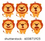 collection of funny lion... | Shutterstock .eps vector #603871925