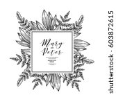 wild leaves wedding invitation. ... | Shutterstock .eps vector #603872615