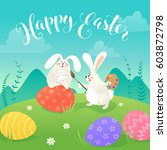 easter greeting card with white ... | Shutterstock .eps vector #603872798