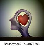 man or woman head in love ...   Shutterstock .eps vector #603873758