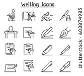 writing icon set in thin line... | Shutterstock .eps vector #603874985