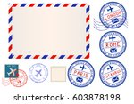 collection of postal elements.... | Shutterstock .eps vector #603878198