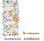 it's cooking time. baking tools ... | Shutterstock .eps vector #603886262