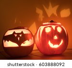 glowing halloween pumpkin | Shutterstock . vector #603888092