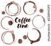coffee spots and spill  vector   Shutterstock .eps vector #603894395