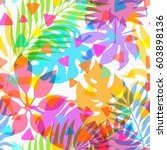 summer exotic floral tropical... | Shutterstock .eps vector #603898136