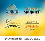 enjoy the summer time logo... | Shutterstock .eps vector #603901682