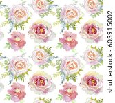 seamless pattern with roses.... | Shutterstock . vector #603915002