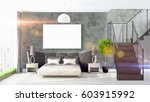 modern bright interior with... | Shutterstock . vector #603915992