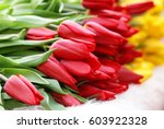 Bunches Of Tulips In A Flower...