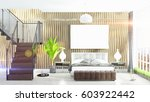 modern bright interior with... | Shutterstock . vector #603922442