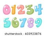 pastel color kid font numbers | Shutterstock .eps vector #603923876