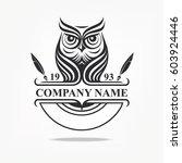 owl logotype. vector logo badge.