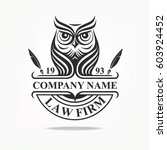 law firm logotype with owl.... | Shutterstock .eps vector #603924452