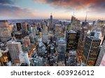 new york skyline at sunset  usa. | Shutterstock . vector #603926012