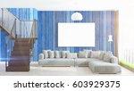 modern bright interior with... | Shutterstock . vector #603929375