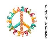 hippie vintage peace symbol in... | Shutterstock .eps vector #603937298