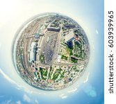 aerial city view with... | Shutterstock . vector #603939965