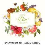 vector organic cosmetics banner ... | Shutterstock .eps vector #603943892
