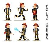 fireman cartoon character set.... | Shutterstock .eps vector #603945596